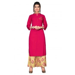 Casual Wear Designer Rayon Kurti With Plazzo